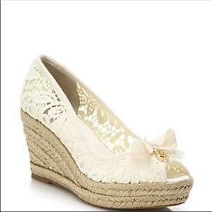 Tory Burch White summer espadrille wedge